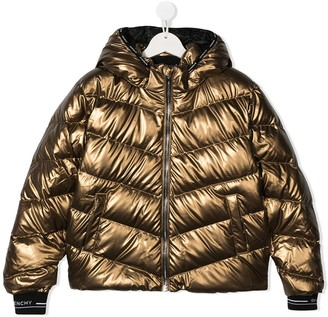 Givenchy Kids Metallic Quilted Down Coat