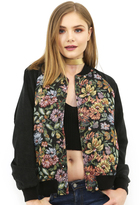 West Coast Wardrobe Julian Floral Bomber Jacket in Black Multi