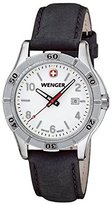 Wenger Platoon Womens White Dial, Black Leather Strap 0921.102