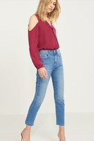 Dynamite Gisele High Rise Straight Leg Jeans with Raw Edge