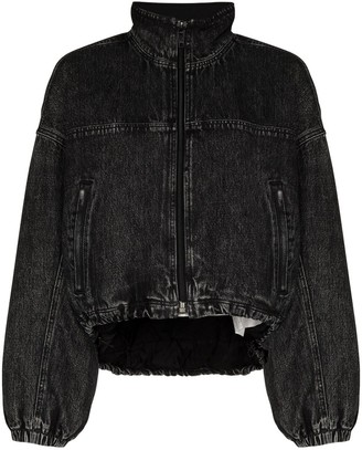 Alexander Wang Padded Denim-Look Bomber Jacket