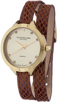 Stuhrling Original Sthrling Original Womens Diamond-Accent Brown Leather Wrap Watch