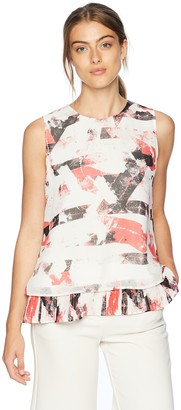 Calvin Klein Women's Printed Sleeveless Pleated Back Top