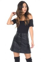 AX Paris Black Button Front PU Skirt
