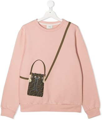 Fendi Kids TEEN FF bag print cotton sweatshirt