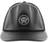 Versace Accessories Leather Mesh Cap Black