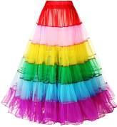 SDRESS Women's Rainbow Long Tutu Skirt Petticoat Dance Dress Clubwear 60s