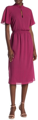 Rachel Roy Collection Mock Neck Ditsy Geometric Dress