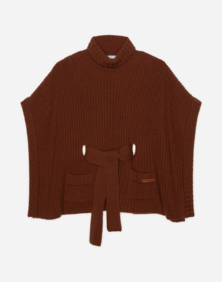 Dolce & Gabbana Knit Poncho With Belt