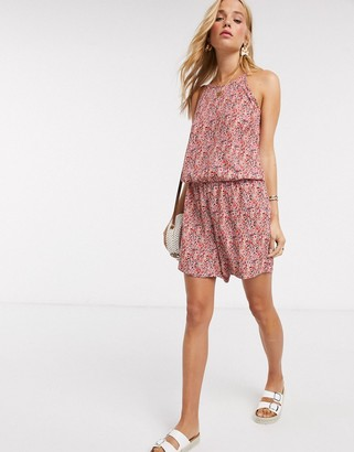 JDY playsuit in pink ditsy floral