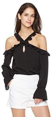 Suite Alice Women's Long Sleeve Ruffle Shoulder Cutout Blouse