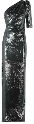 Rachel Gilbert Val One-Sleeve Sequin Gown