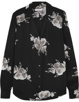 Equipment Adalyn Floral-print Washed-silk Shirt - Black