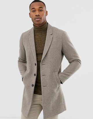 Jack and Jones wool overcoat in beige