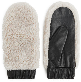 Arket Leather Pile Mittens