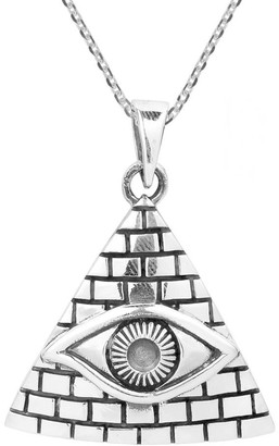Aeravida Handmade All Seeing Eye of Providence .925 Sterling Silver Necklace