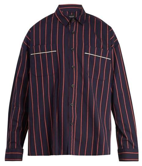 Fear Of God Oversized Pinstripe Cotton Shirt - Mens - Red Navy