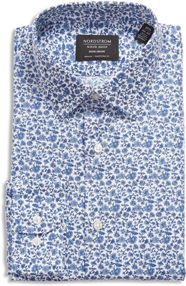 Nordstrom Traditional Fit Floral Stretch Non-Iron Dress Shirt