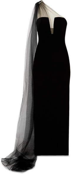 Monique Lhuillier One-shoulder Crystal-embellished Tulle And Velvet Gown - Black