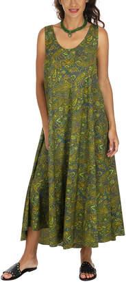 Aller Simplement Women's Maxi Dresses GREEN - Green & Blue Paisley V-Neck Sleeveless Tie-Back Maxi Dress - Women