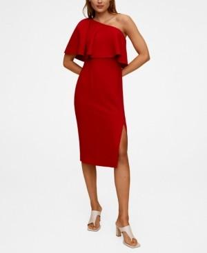 MANGO Women's Asymmetrical Ruffle Dress