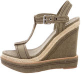 Miu Miu Canvas Platform Wedge Sandals