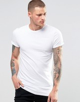 Asos Longline Muscle T-Shirt With Roll Sleeve In White