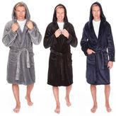 Mens Pierre Roche Warm Fleece Hooded Dressing Gown Robe Medium To 5XL