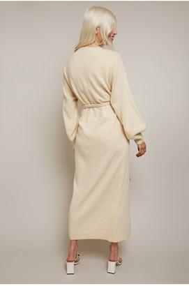 Little Mistress Finlay Cream Knit Wrap Midi Dress