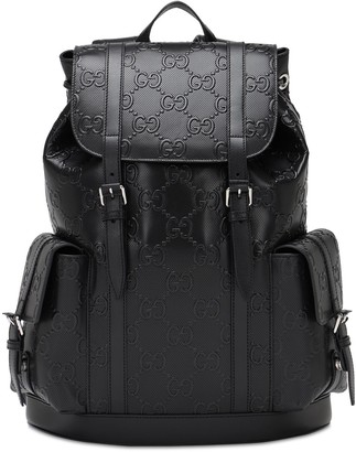 Gucci Gg Debossed Leather Backpack