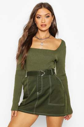 boohoo Square Neck Knitted Long Sleeve Top