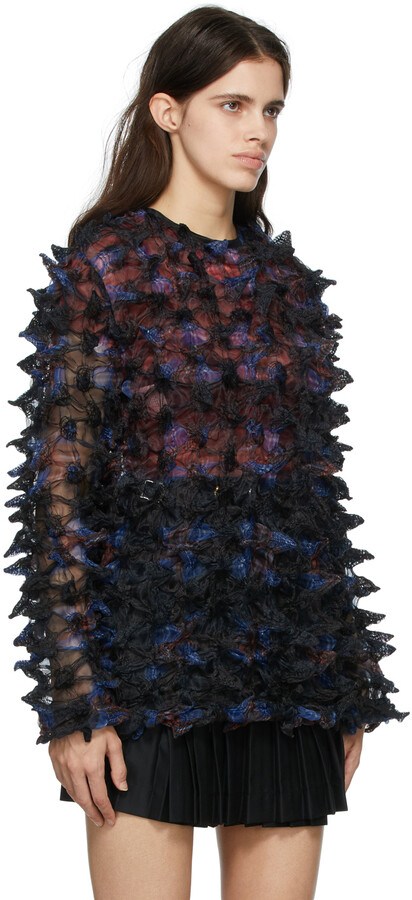 Thumbnail for your product : Charles Jeffrey Loverboy Black Organza Spikey Pullover