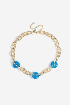 Topshop Blue Bead Link Collar Necklace