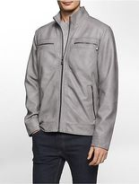 Calvin Klein Mens Washed Faux Leather Jacket