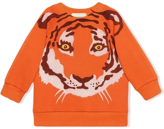 Gucci Kids Tiger-Print Long-Sleeve Sweatshirt