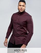 Asos PLUS Skinny Tonic Shirt In Burgundy