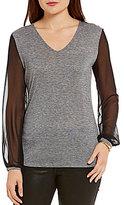 Armani Exchange Sheer Sleeve Top