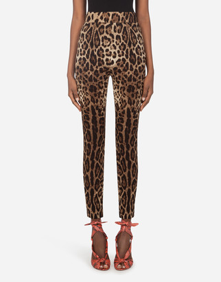 Dolce & Gabbana Leggings In Charmeuse With Leopard Print