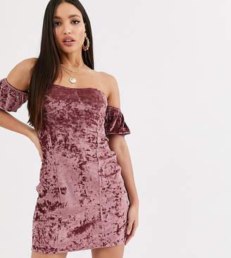 Asos Tall DESIGN Tall velvet off the shoulder mini dress-Beige