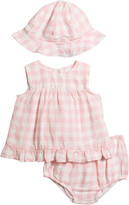 Ralph Lauren Childrenswear Girl's Gingham Linen 3-Piece Layette Set, Size 6-24 Months