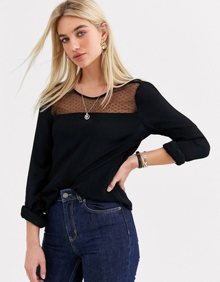 Vero Moda mesh panel jumper-Black