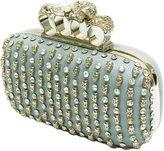 TOTAL FASHION Fashion Handbag Purse Bag Clutch Rhinestone Studs Knuckle Ring Box Shallow Blue