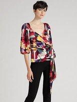 Micha Silk Jersey Wrap Top