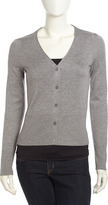 Joie V-Neck Button-Front Cardigan, Heather Gray