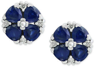 Effy Royale Blue by Sapphire (2-5/8 ct. t.w.) and Diamond (1/8 ct. t.w.) Stud Earrings in 14k White Gold