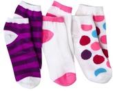 Xhilaration Girls 3-Pack No-Show Dot Socks - Purple Ritz