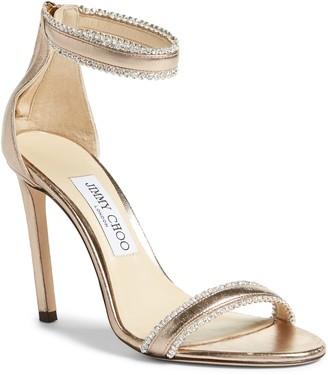 Jimmy Choo Dochas Metallic Embellished Strap Sandal