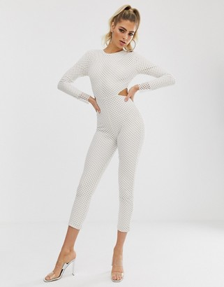 Club L London mesh cutout side catsuit in white