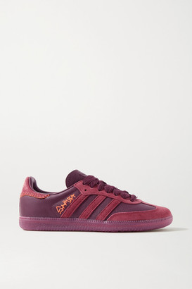 adidas Jonah Hill Samba Leather And Suede Sneakers - Burgundy