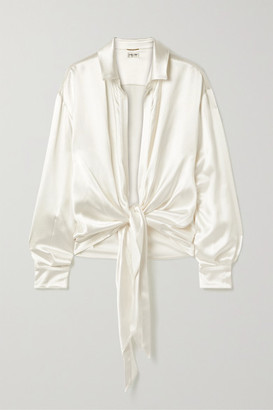 Saint Laurent Tie-front Silk-satin Blouse - Ivory